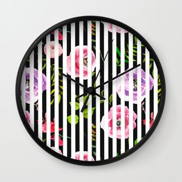Pink lavender green watercolor floral stripes Wall Clock