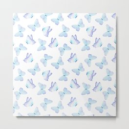 Hand painted pastel teal lavender watercolor butterflies Metal Print