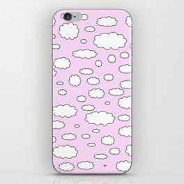 Pink sky with little clouds of caricatures iPhone Skin