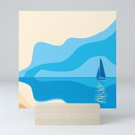 yacht in the sea Mini Art Print