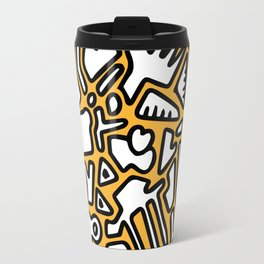black doodle on orange Travel Mug
