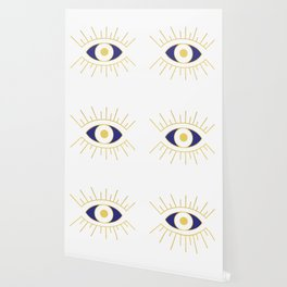 Evil Eye Navy and Gold Wallpaper