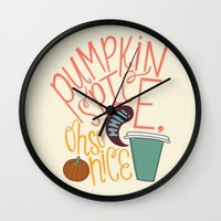 spice Wall Clocks featuring Pumpkin Spice by Chelsea Herrick