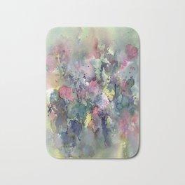 Impressionistic Watercolor of Sweet Peas Bath Mat