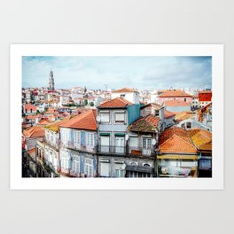 Traditional houses of Porto, with Clérigos Tower far in the distance. Art Print