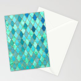 Aqua Teal Mint and Gold Oriental Moroccan Tile pattern Stationery Cards
