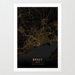 Brest, France - Gold Art Print