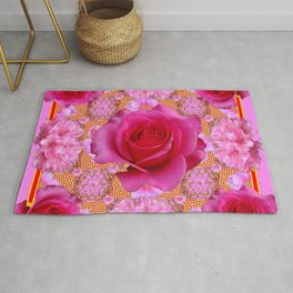 Purple pink Red Roses Patterns Floral  Art Rug