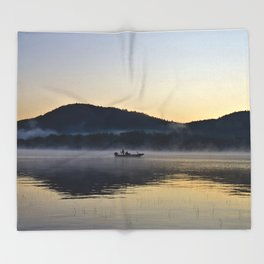 Fishing in the Morning Mist Throw Blanket