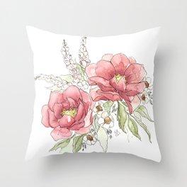 Watercolor Flowers - Garden Roses Throw Pillow