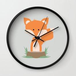 Fox on Stump Wall Clock