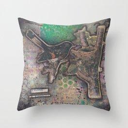 redstart bird canvas collage Throw Pillow