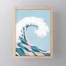 Surf X // Cali Beach Summer Surfing Rip Curl Gold Pink Aqua Abstract Ocean Wave Framed Mini Art Print