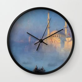 Constantinople (Istanbul) Süleymaniye Mosque in Fog by Ivan Aivazovsky Wall Clock