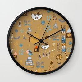 hygge cat and bird camel Wall Clock