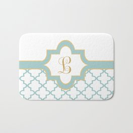Moroccan Trellis Pattern With Name Plate And Monogram Bath Mat