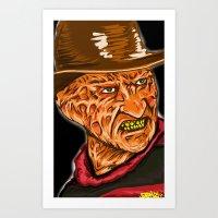 freddy krueger Art Prints featuring Freddy Krueger by Art of Fernie