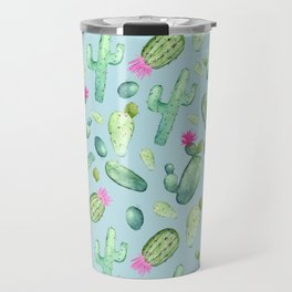 Green Cactus with Pink Bloom | Watercolor Cacti on Cyan Background Travel Mug
