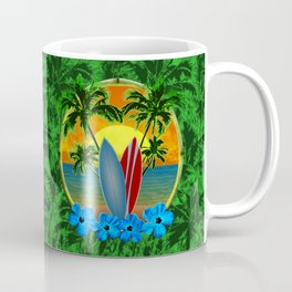 Sunset Surfboards And Palm Trees Coffee Mug