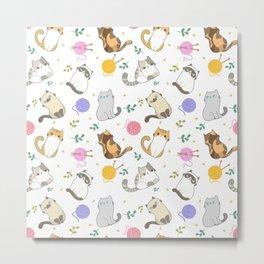 Cats  Seamless Pattern Metal Print