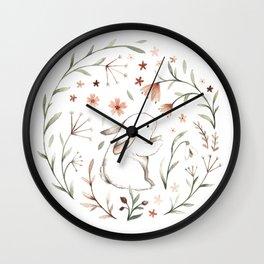 Watercolor Bunny Wall Clock
