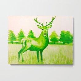 Green Deer Watercolor Metal Print