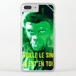 Wake up your monkey Clear iPhone Case