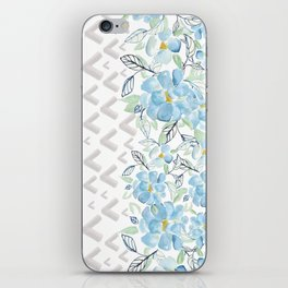 Gray arrows and blue flowers iPhone Skin