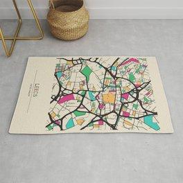 Colorful City Maps: Leeds, England Rug