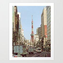 Tokyo Tower Seen from Gaien-Higashi-Dori - Painting Art Print