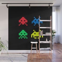 space aliens invaders stylish gamer art Wall Mural