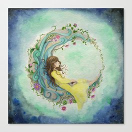 The Girl At The Moon Canvas Print
