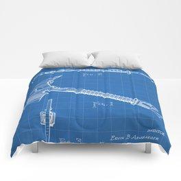 Firemans Axe Patent - Fire Fighter Art - Blueprint Comforters