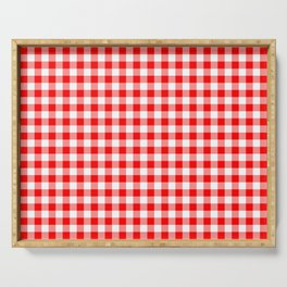 Australian Flag Red and White Jackaroo Gingham Check Serving Tray