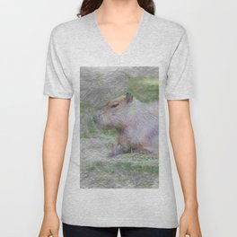 Artistic Animal capybara Unisex V-Neck