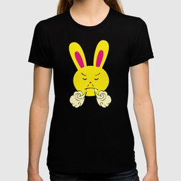 One Tooth Rabbit Emoticons Bunny Face with Steam From Nose T-shirt