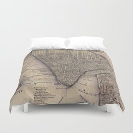 Vintage NYC and Brooklyn Map (1847) Duvet Cover