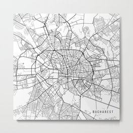 Bucharest Map, Romania - Black and White Metal Print