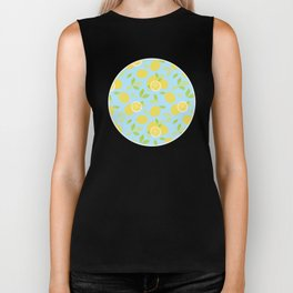 Bright And Sunny And Stamped Lemon Citrus Pattern Biker Tank