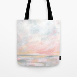 Overwhelm - Pink and Gray Pastel Seascape Tote Bag