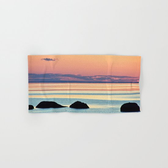 Circle of Rocks and the Sea at Dusk Hand & Bath Towel