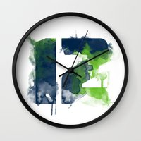 seahawks Wall Clocks featuring 12th man by Corina Rivera Designs
