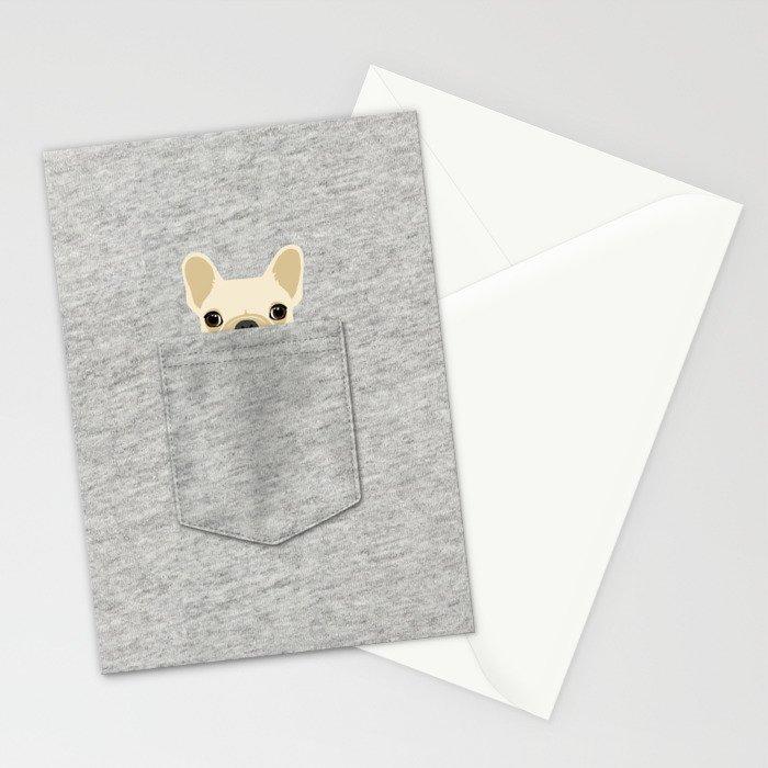 Pocket French Bulldog - Cream Stationery Cards