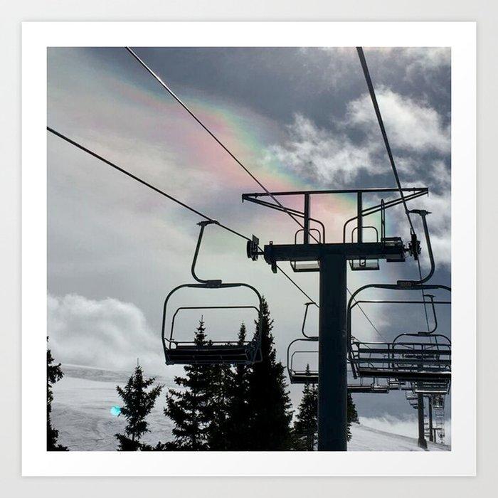 4 Seat Chair Lift Rainbow Sky \\ The Mountain Sun Rays \\ Spring Skiing Colorado Winter Snow Sports Kunstdrucke