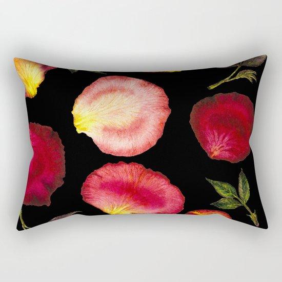 Rose Petal Pattern on Black 01 Rectangular Pillow