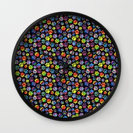 Rainbow Paw Print Watercolor Pattern Wall Clock