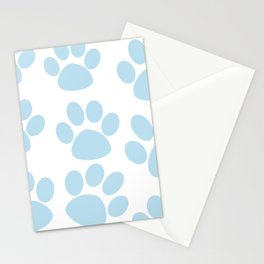 Puppy Paw Prints Blue Stationery Cards