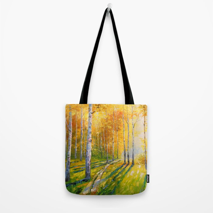 Road in a birch forest Tote Bag