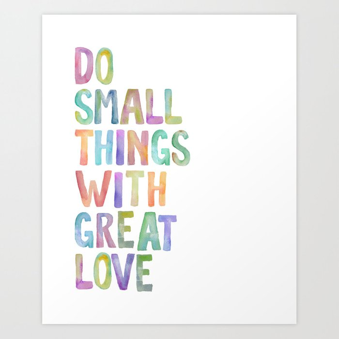 Do Small Things With Great Love, Mother Teresa Print, Mother Teresa Quote,  Floral Quotes Wall Art, I Art Print by typodesign
