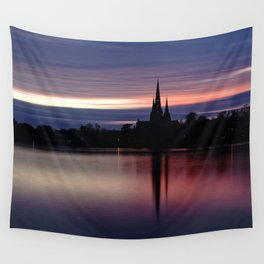 Pink Sky Over The Lichfield Cathedral Wall Tapestry